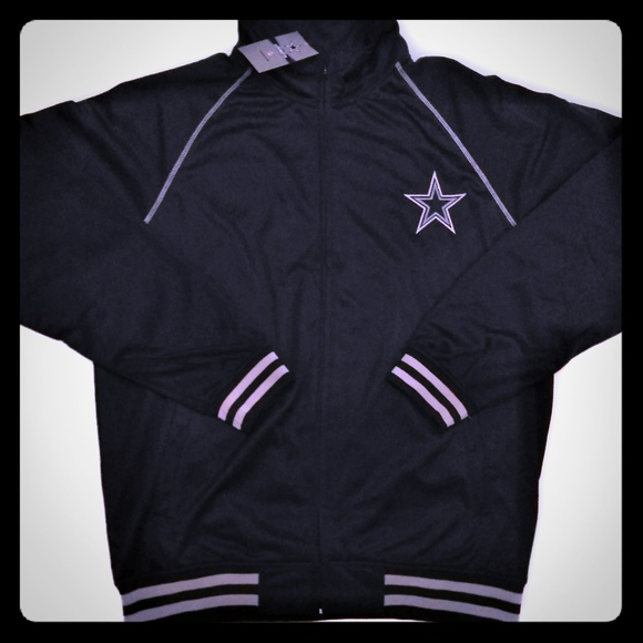 save off 9c93f e8aa1 Dallas Cowboys Dri Fit Full Zip Track Jacket Black NWT